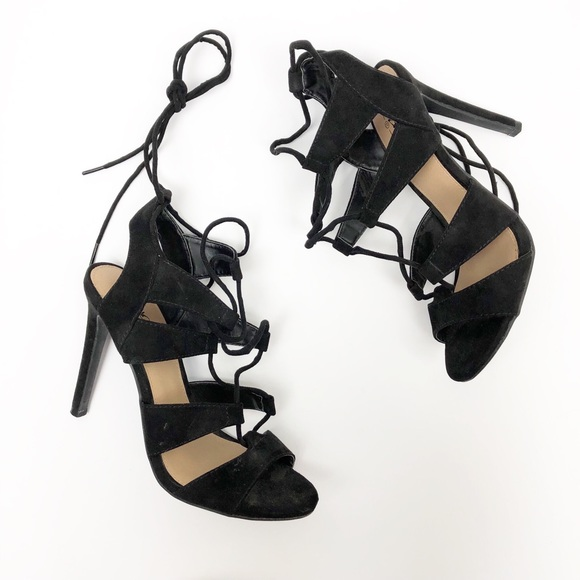 Mossimo Supply Co. Shoes - Mossimo Lace Up Heels Sandals Black Strappy 7.5